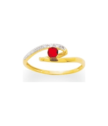 Bague or jaune 9 carats rhodium rubis ROBBEZ MASSO
