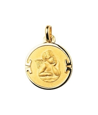 Médaille ange ronde or jaune