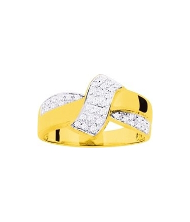 Bague zirconium or jaune 9 carats