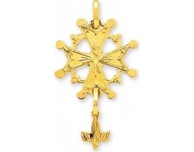 Pendentif croix huguenote or jaune