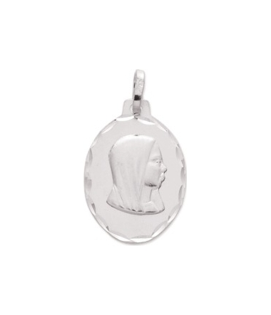 Médaille vierge or blanc 9 carats
