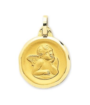 Médaille ange or jaune 9 carats