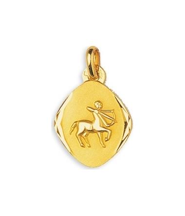 Médaille sagittaire or jaune 9 carats