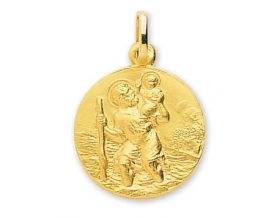 Médaille Saint-Christophe ronde or jaune