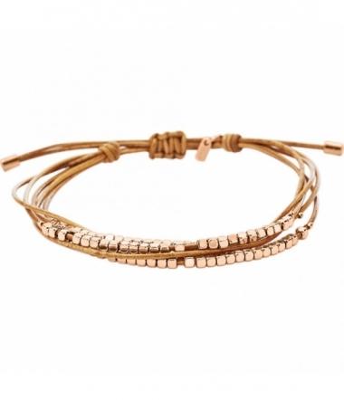 Bracelet Femme Cuir Or Rose Beige JA6422791