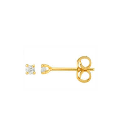 Boucles d'oreilles or jaune diamants 0.08 carat