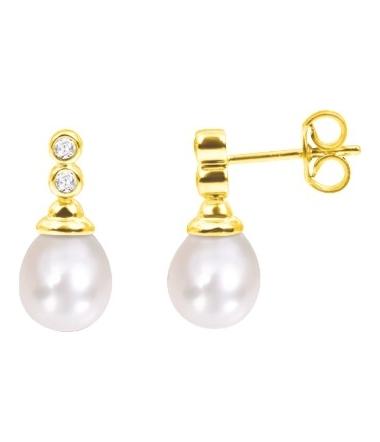 Boucles d'oreilles perles eau douce poire 8 mm 0.0