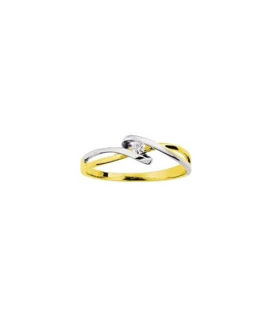 Solitaire 2 ors gris diamant 0.04 carat
