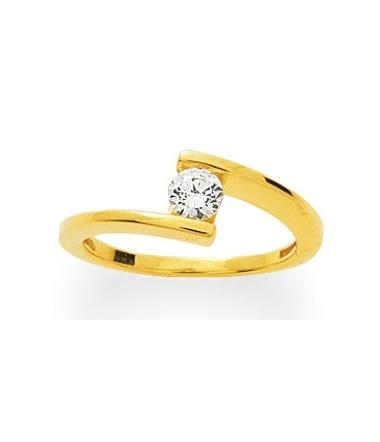 Solitaire or jaune diamant 0.23 carat