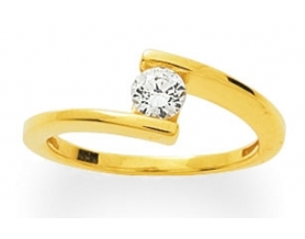 Solitaire or jaune diamant 0.23 carat