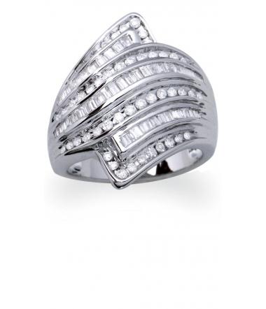 Bague or gris diamants 1.00 carat