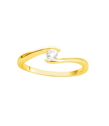 Solitaire or jaune diamant 0.14 carat