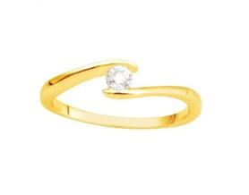 Solitaire or jaune diamant 0.14 carat