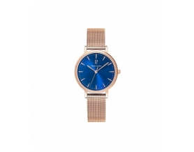 Montre Ronde Acier Doré-rose Cadran Bleu Femme