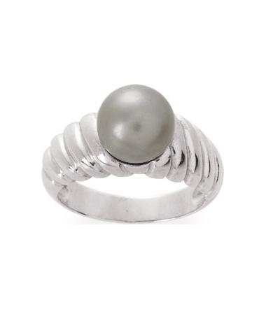 Bague argent rhodie et perle grise