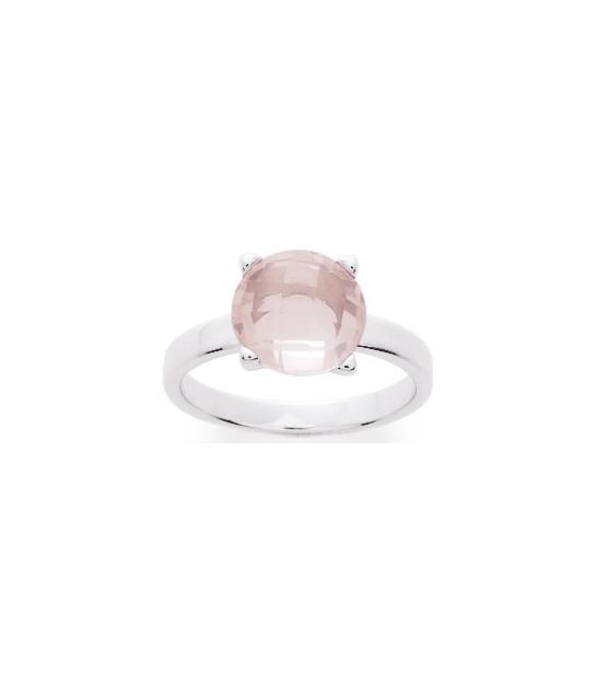 Bague argent rhodié & quartz rose