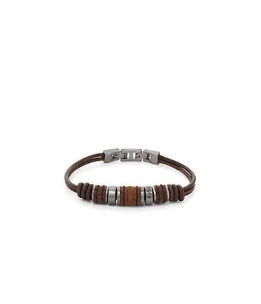 Bracelet Perlé Acier et Cuir Homme JF00900797