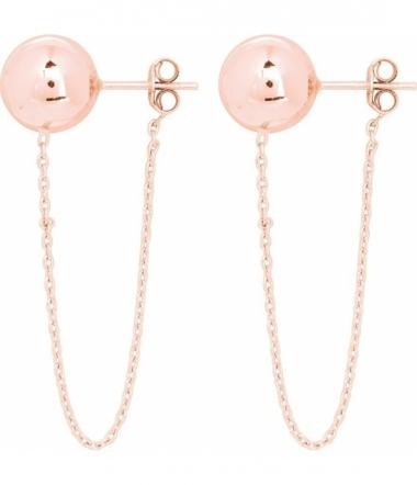 Boucles d'oreilles pendantes plaqué or rose