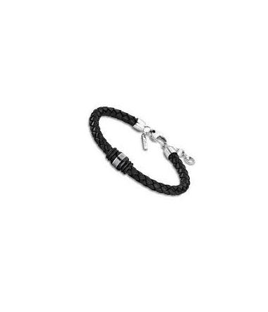 Bracelet Acier et Cuir Tressé Noir Homme