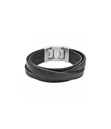 Bracelet Acier et Cuir Noir Texturé Homme JF029980