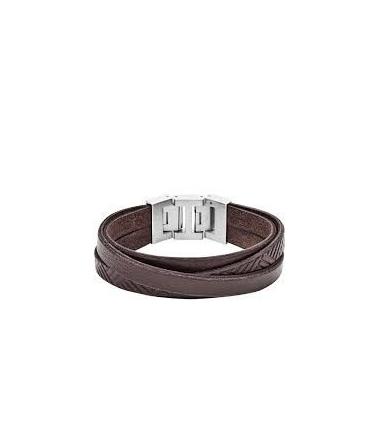 Bracelet Acier en  Cuir Marron Texturé Homme JF029