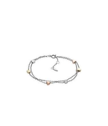 Bracelet Double Chaine Coeur en Acier Tricolore Fe