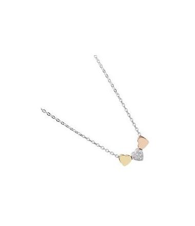 Collier Coeur en Acier Tricolore Femme JF02856998