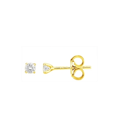 Boucles d'oreilles or jaune diamants 0.16 carat