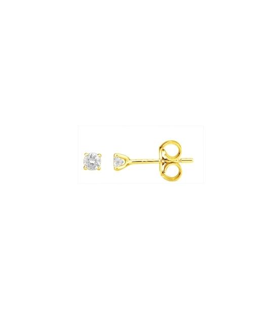 Boucles d'oreilles or jaune diamants 0.16 carat