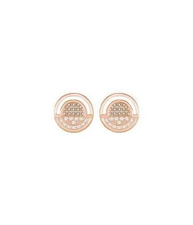 Boucles d'oreilles Métal Doré Rose et Deux Couleur