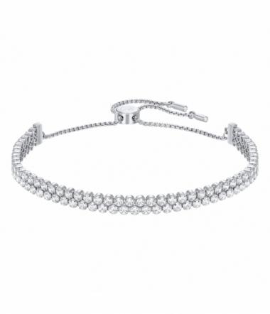 Bracelet Double Rang en Métal Rhodié Argenté et Cr