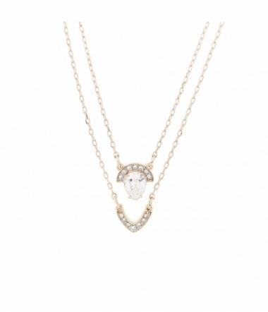 Collier Double Chaine et pendentif Plaqué Or Rose