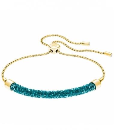 bracelet Métal Doré et Cristal Bleu Turquoise  Fem