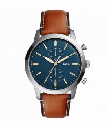 Montre Ronde Cuir Marron Chrono Homme