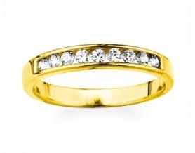 Demi-alliance or jaune et diamants 0.26cts