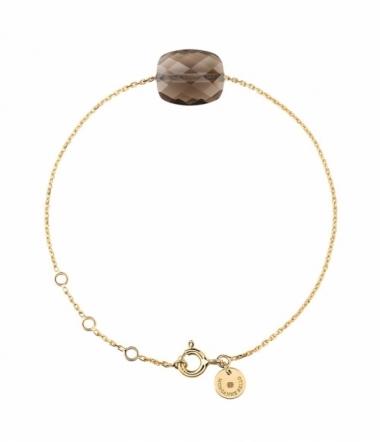 Bracelet quartz fumé or jaune
