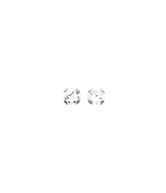 Boucles d'oreilles 4 griffes 5 mm or blanc